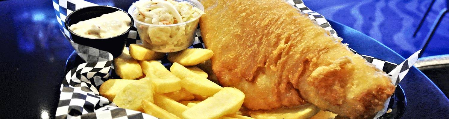 Beer battered fish and chips dinner